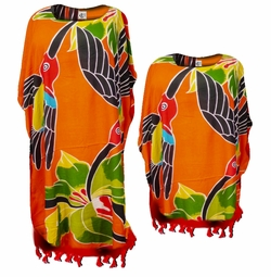 SOLD OUT! SALE! Bright Orange & Red Parrot Rayon Print Plus Size & Supersize Caftan Dress or Shirt 1x to 6x