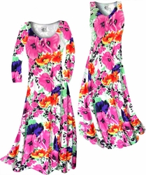 SALE! Customizable Bright Pink & Orange Bellflowers Floral Slinky Print Plus Size & Supersize Short or Long Sleeve Dresses & Tanks - Sizes Lg XL 1x 2x 3x 4x 5x 6x 7x 8x 9x