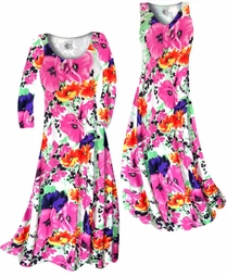 SOLD OUT! SALE! Customizable Bright Pink & Orange Bellflowers Floral Slinky Print Plus Size & Supersize Short or Long Sleeve Dresses & Tanks - Sizes Lg XL 1x 2x 3x 4x 5x 6x 7x 8x 9x