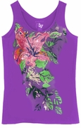 SALE! Bright Purple Glittery Floral Plus Size Tank Top 1x