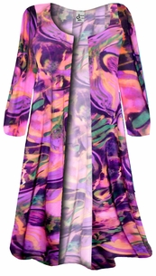 SOLD OUT! Bright Wild Pink Print Plus Size Slinky Duster Jacket 1x 2x 3x 4x Supersize 5x 6x 7x 8x 9x
