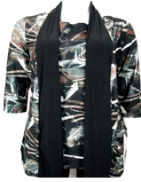 SOLD OUT! SALE! Brown and Black Slinky With Over Neck Draping Plus Size Top 5x