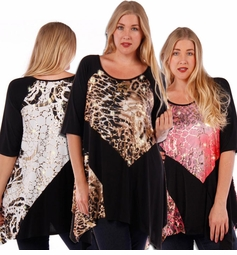 SOLD OUT! Brown, Black & Red, or Black & White Slinky Metallic Gold Foil Print Plus Size Top 5x 6x