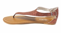CLEARANCE! Brown Glitter With Clasp Thong Sandal Ladies Sizes 8.5