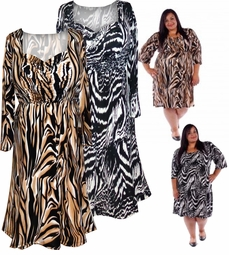 SOLD OUT! SALE! Black and Brown  Babydoll Style Half Sleeve Mid Length Plus Size Slinky Dress 4x  6x