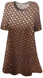 SALE! Brown With Shimmering Gold Skulls Plus Size & Supersize Extra Long T-Shirts 3x