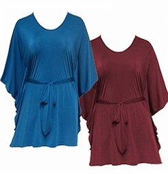 SOLD OUT! Just Reduced! Burgundy or Light Teal Slinky Flutter Plus Size Tops With Tie Belt 4x