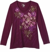 CLEARANCE! Burgundy Roses With Gold Glittery Plus Size Long Sleeve T-Shirt 1x 2x