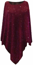 SOLD OUT! SALE! Burgundy With Glittery Gold Dots Slinky Print Plus Size Supersize Poncho