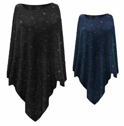 NEW! Plus Size Black or Navy With Glittery Silver Dots Slinky Print Poncho