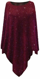Green or Burgundy With Glittery Gold Dots Slinky Print Plus Size Supersize Poncho