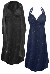 NEW! Plus Size Black or Navy With Glittery Silver Dots Slinky Print 2pc Princess Seam Dress Set 0x 1x 2x 3x 4x 5x 6x 7x 8x