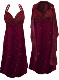 Green or Burgundy With Gold Glittery Dots Slinky Plus Size SuperSize 2pc Princess Seam Dress Set 0x 1x 2x 3x 4x 5x 6x 7x 8x