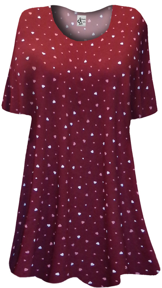Sold Out Burgundy With Pink White Mini Hearts Print