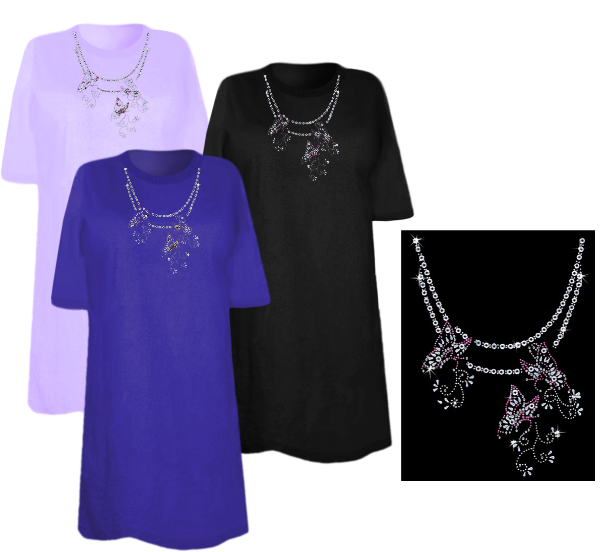 Sale butterfly chain neckline sparkly rhinestud for 3x shirts on sale