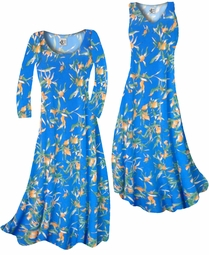 SOLD OUT! Customizable Cerulean Blue With Oriental Lily Slinky Print Plus Size & Supersize Standard or Cascading A-Line or Princess Cut Dresses & Shirts, Jackets, Pants, Palazzo's or Skirts Lg to 9x