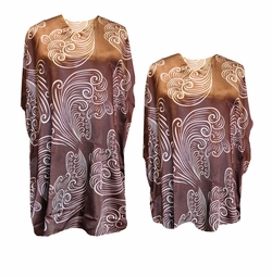 SOLD OUT! Chocolate Brown With Swirls Print Plus Size & Supersize Caftan Mid Length Dress or Shirt 1x to 6x