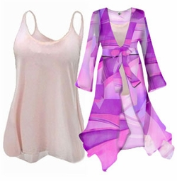 Beautiful Customizable Sheer 2pc Blouse Set or 1pc Swimsuit Coverup! - Many Colors & Prints in Plus Size & Supersize 0x 1x 2x 3x 4x 5x 6x 7x 8x