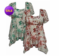 SOLD OUT! Coral or Teal Floral Paisley Crepe Babydoll Plus Size Supersize Tops! Abstract Sizes 4x