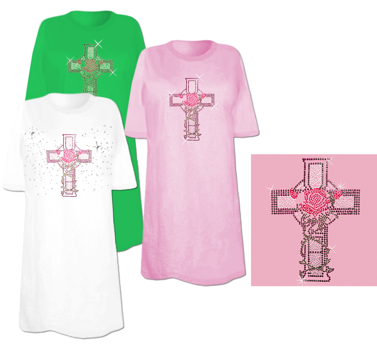 Sale cross with rose and vines rhinestone studs plus for 3x shirts on sale