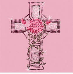 SALE! Cross With Rose and Vines Rhinestone / Studs Plus Size & Supersize T-Shirts S M L XL 2x 3x 4x 5x 6x 7x 8x 9x (All Colors)