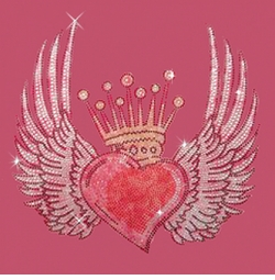 SALE! Crowned Heart With Wings  Rhinestone / Studs Plus Size & Supersize T-Shirts S M L XL 2x 3x 4x 5x 6x 7x 8x 9x (All Colors)