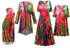 SOLD OUT! <strong>CRUSH VELVET</strong> Tie Dye Print - Plus Size Dresses Shirts Jackets Pants Palazzo�s & Skirts - Sizes Lg to 9x