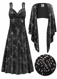 SOLD OUT! CLEARANCE! 2-Piece Glittery Fireworks Slinky Plus Size SuperSize Princess Seam Dress Set 4x