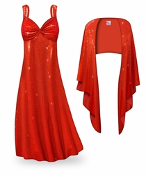 SOLD OUT! SALE! 2-Piece Red Glimmer & Sequins Plus Size & SuperSize Princess Seam Dress Set 2x