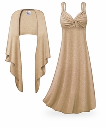 NEW! Customizable 2-Piece Tan with Silver Glimmer Plus Size & SuperSize Princess Seam Dress Set Lg XL 0x 1x 2x 3x 4x 5x 6x 7x 8x 9x