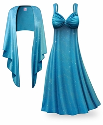 SOLD OUT! SALE! Customizable 2-Piece Turquoise Glittery Satin Plus Size & SuperSize Princess Seam Dress Set Lg XL 0x 1x 2x 3x 4x 5x 6x 7x 8x 9x