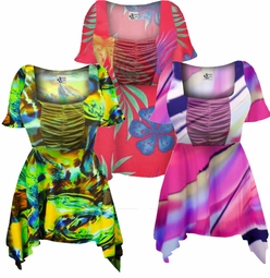SOLD OUT! Gorgeous Colorful Slinky Print Supersize & Plus Size Babydoll Tops 0x 1x 2x 3x 4x 5x 6x 7x 8x