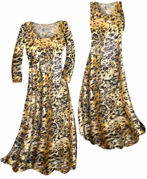 SALE! Customizable Black Ornate With Gold Metallic Slinky Print Plus Size & Supersize Short or Long Sleeve Dresses & Tanks - Sizes Lg XL 1x 2x 3x 4x 5x 6x 7x 8x 9x