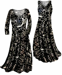 SOLD OUT! Black & Silver Metallic Shiny Print Slinky Plus Size & Supersize Standard or Cascading A-Line or Princess Cut Dresses & Shirts, Jackets, Pants, Palazzo's or Skirts Lg to 9x