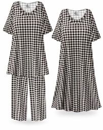 SALE! Black & White Gingham Plus Size & SuperSize Pajama Pant Set
