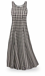 SOLD OUT! ! SALE! Black & White Gingham Plus Size & SuperSize Princess Cut Poly/Cotton Jersey Dress 0X 5X