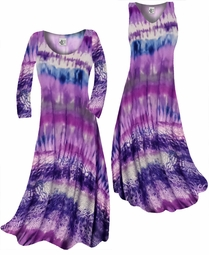 SOLD OUT!! Customizable Cool Purple Tye Dye Print Slinky Plus Size & Supersize Standard or Cascading A-Line or Princess Cut Dresses & Shirts, Jackets, Pants, Palazzo's or Skirts Lg to 9x