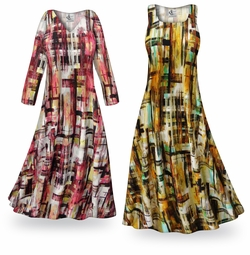 SALE! Customizable Crosshatch Slinky Print Plus Size & Supersize Short or Long Sleeve Dresses & Tanks - Size 1x