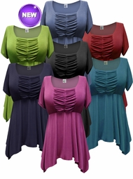 Customizable! Gorgeous Colorful Slinky Solid Colors Supersize & Plus Size Babydoll Tops 0x 1x 2x 3x 4x 5x 6x 7x 8x