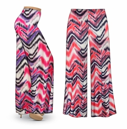 SALE! Customizable Groovy Zig Zags Slinky Print Plus Size & Supersize Palazzo Pants - Tapered Pants  - Sizes Lg XL 1x 2x 3x 4x 5x 6x 7x 8x 9x