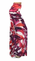 CLEARANCE! Maroon Red Naga Marshes Slinky Print Plus Size & Supersize Palazzo Pants 2x
