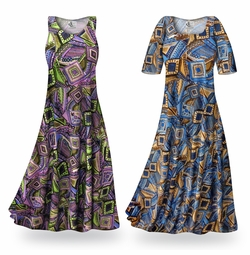 SOLD OUT! SALE! Customizable Blue & Tan Nifty Squares Slinky Print Plus Size & Supersize Standard or Cascading A-Line or Princess Cut Dresses & Shirts, Jackets, Pants, Palazzo�s or Skirts Lg to 9x