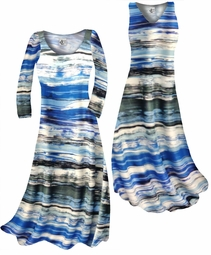 Customizable Ocean Blue Lines Slinky Print Plus Size & Supersize Short or Long Sleeve Dresses & Tanks - Sizes Lg XL 1x 2x 3x 4x 5x 6x 7x 8x 9x