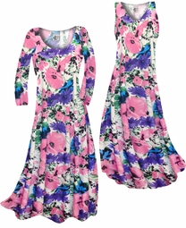 SOLD OUT! SALE! Customizable Pink, Purple, and Blue Bellflowers Slinky Print Plus Size & Supersize Short or Long Sleeve Dresses & Tanks - Sizes Lg XL 1x 2x 3x 4x 5x 6x 7x 8x 9x
