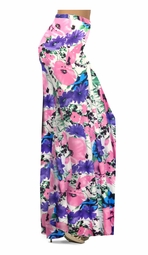 SALE! Customizable Pink, Purple, and Blue Bellflowers Print Plus Size & Supersize Palazzo Pants - Tapered Pants  - Sizes Lg XL 1x 2x 3x 4x 5x 6x 7x 8x 9x