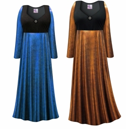 NEW! Customizable Plus Size Blue or Copper Metallic Empire Waist Dress With Rhinestone Detail Lg XL 0x 1x 2x 3x 4x 5x 6x 7x 8x