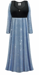 Customizable Plus Size Blue With Blue Glimmer/Glitter Empire Waist Dress With Rhinestone Detail Lg XL 0x 1x 2x 3x 4x 5x 6x 7x 8x