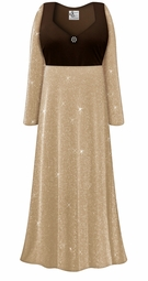 Customizable Plus Size Brown Top With Tan & Silver Glimmer Empire Waist Dress With Rhinestone Detail Lg XL 0x 1x 2x 3x 4x 5x 6x 7x 8x