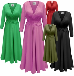 Solid Color Slinky Plus Size Midi Dress with Wrap Around Belt/Sash LG XL 0x 1x 2x 3x 4x 5x 6x 7x 8x