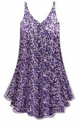 NEW! Customizable Plus Size Purple Animal Print Sheer A-Line Overshirt Top 0x 1x 2x 3x 4x 5x 6x 7x 8x
